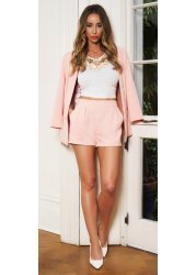 Peach Tailored Side Pocket Shorts