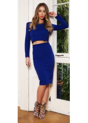 Royal Blue Textured Midi Skirt