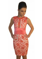 Coral Lace Sleeveless Pencil Fit Jayme Dress