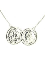 Two Coin Holly Silver Finish Necklace