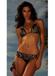 Hand Painted Dolce Vita Black & Gold Bikini