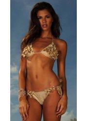 Brown Butterflies Crystal Embellished Bikini