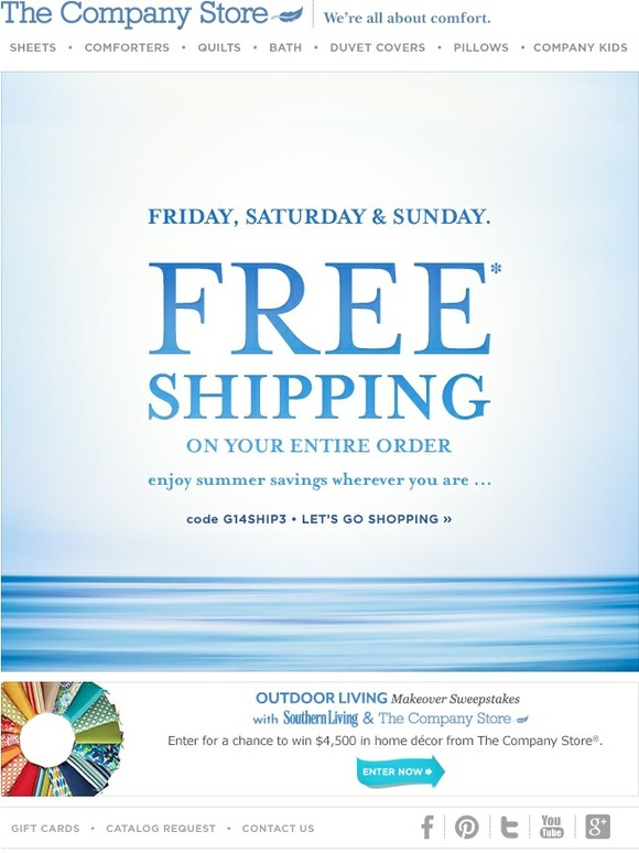 The Company Store: Friday  Saturday  Sunday | Site-Wide Free