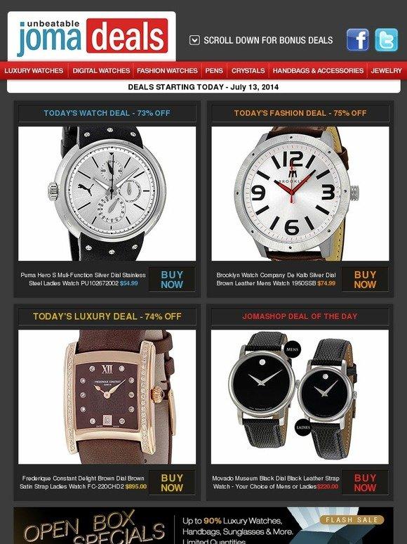 91efa72ac JOMASHOP: $54.99 Puma Hero S l $74.99 Brooklyn Watch Co. Dekalb l 74% off  Frederique Constant Delight l Your Choice Movado Museum - Mens or Ladies! |  Milled