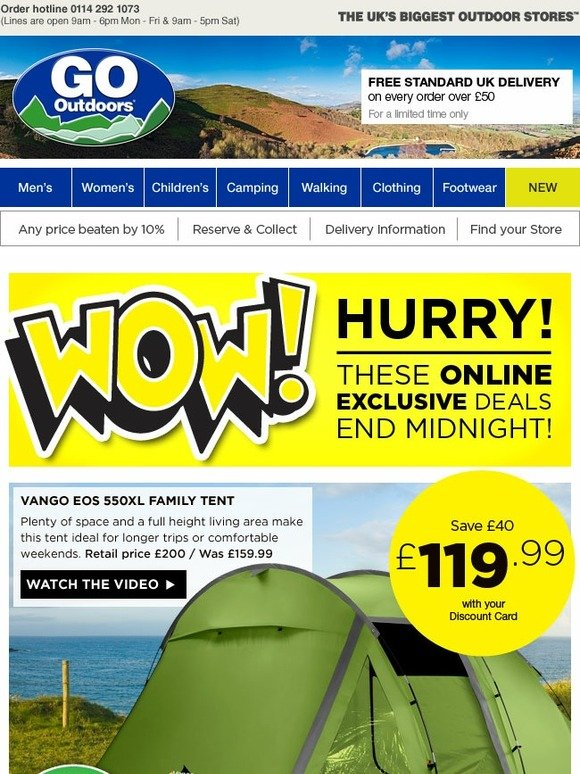 go outdoors last chance to save 40 on the vango eos. Black Bedroom Furniture Sets. Home Design Ideas