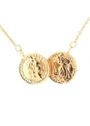 Two Coin Holly Rose Gold Finish Necklace