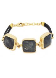 Triple Stone Bracelet With Labradorite Stones In Gold
