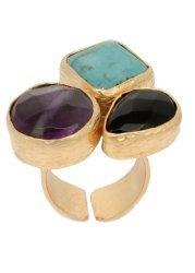 Semi Precious Triple Stone Chunky Cluster Ring In 24k Gold Plate