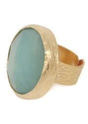 Large Aqua Marine Semi-Precious Stone Ring In 24k Gold Plate