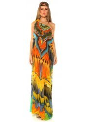 Macaw Print Silk Crepe Drawstring Neck Maxi Dress