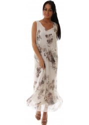 White Floral Silk Sleeveless Loose Bodice Maxi Dress