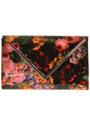 Ivette Floral Print Patent Clutch Bag With Long Chain
