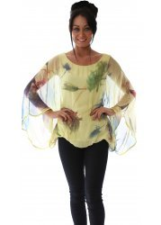 Yellow Multicoloured Feather Print Silk Floaty Kaftan Top