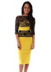 Esme Pencil Dress In Yellow With Black Lace Bodice