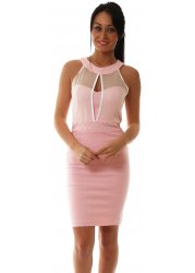 Amy Utra Body Con Dress In Pink Sleeveless With Mesh Top