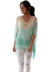 Ombre Mint & Cream Silk Sequinned Neckline Tunic Top