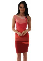 Coral & Red Ombre Sleeveless Bandage Bodycon Dress