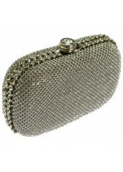 Evolet Silver Diamante Hard Cased Clutch With Chain