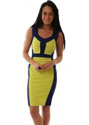 Serena Bodycon Dress With Lime Contrast Illusion Panels