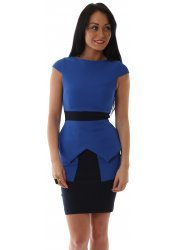 Contrast Textured Peplum Cobalt Blue Suki Mini Dress