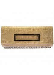 Skye Beige Shiny Metallic Patent Clutch With Chain