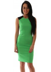 Rina Lace Back Sleeveless Green Pencil Dress