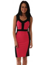 Bodycon Serena Dress With Pink Contrast Illusion Panels