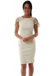 Beaded Cape Cream Seren Pencil Dress