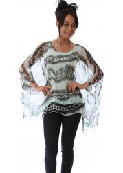 Black & Pale Green Silk Crochet Lace Hem Floaty Top