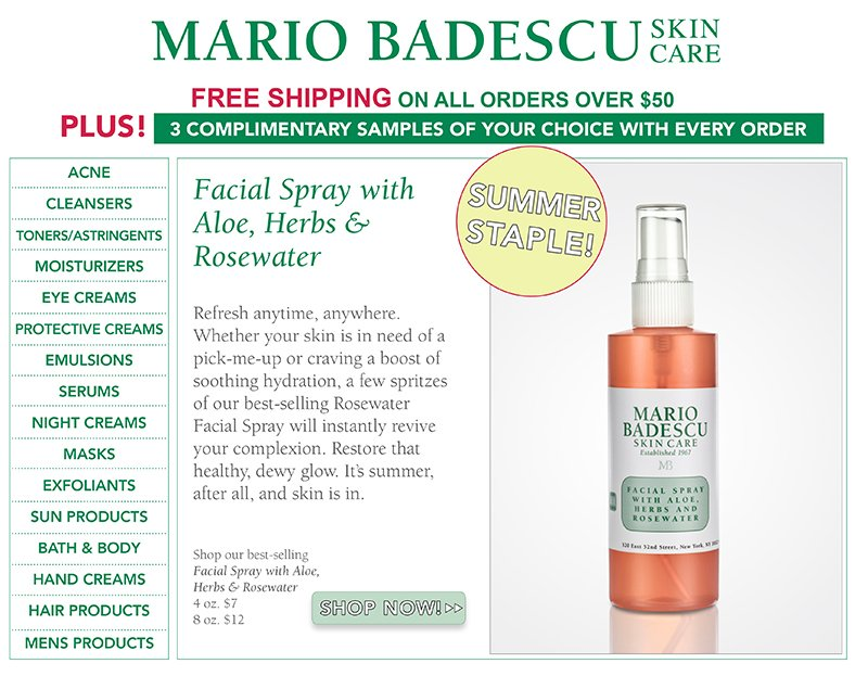 Mario Badescu Skin Care Refresh Rehydrate And Rejuvenate