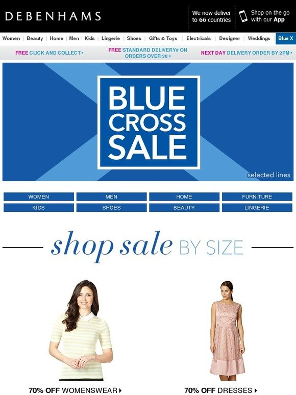 Debenhams Shop Your Size In Our Blue Cross Sale