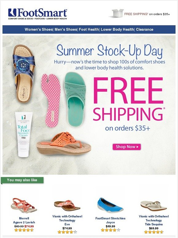 c67f6305b4ea FootSmart  Summer Stock-Up Day! FREE SHIPPING on  35+