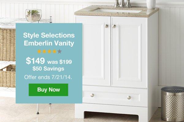 Style Selections Emberlin Vanity $149, was $199. $50 Savings Offer ends 7/21