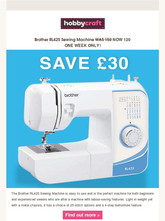 Hobbycraft One Week Only Sewing Machine Deal Milled Delectable Brother Sewing Machine Hobbycraft