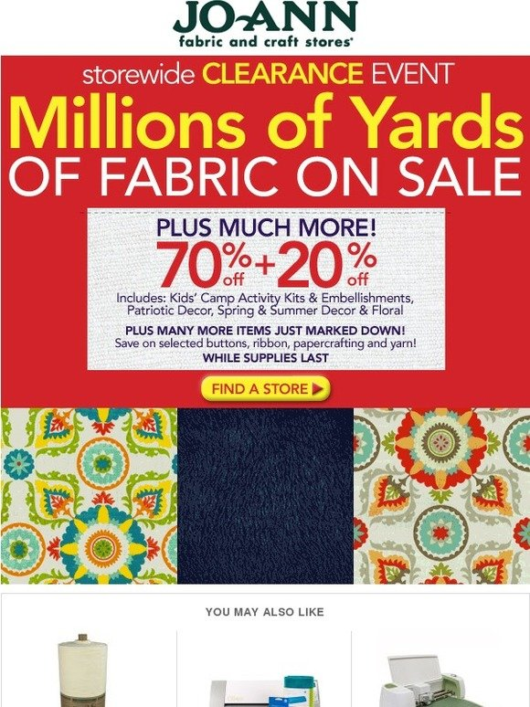 Jo ann fabric and craft store storewide clearance event for Clearance craft supplies sale