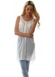 Long Ivory Sheer Chiffon Sleeveless Tunic Shirt