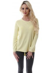 Bright Yellow Amira Cotton Sweater With Keyhole Back