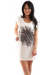 Sina Printed Off White Cotton Jersey Beach Dress
