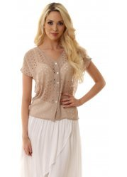 Sand Cut Out Draped Back Short Sleeve Blouse