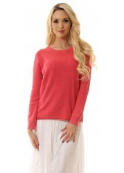Raspberry Amira Cotton Sweater With Keyhole Back
