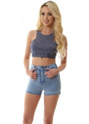 Ice Liberty Blue Stretch Fit High Waisted Galore Shorts