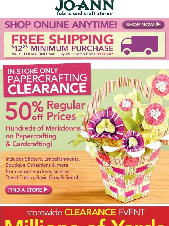 Jo ann fabric and craft store today only get free for Jo ann fabric and craft coupons