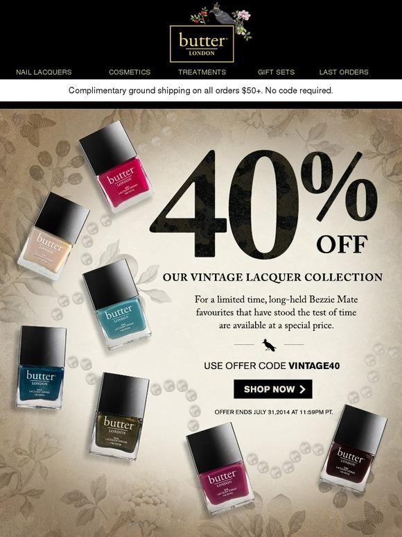 Butter London: Hurry! 40% off Vintage Lacquers | Milled
