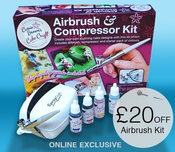 Cassie Browns Cake Decorating Airbrush And Compressor Kit : Hobbycraft: ?20 off the Cassie Brown Cake Airbrush Kit ...