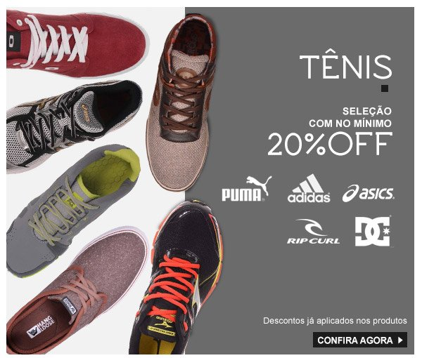 Tenis com no minimo 20%OFF
