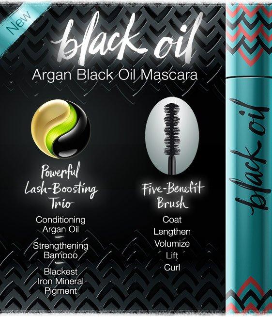 7eae8fabb8c New Argan Black Oil Mascara. Powerful Lash-Boosting Trio: Conditioning Argan  Oil,