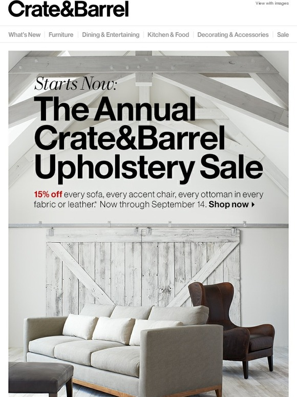 Crate And Barrel The Annual Upholstery Sale Starts Now Milled