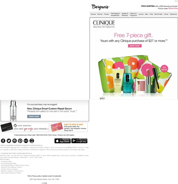 Bergners: Clinique summer GIFT • Free with your $27 Clinique purchase... | Milled