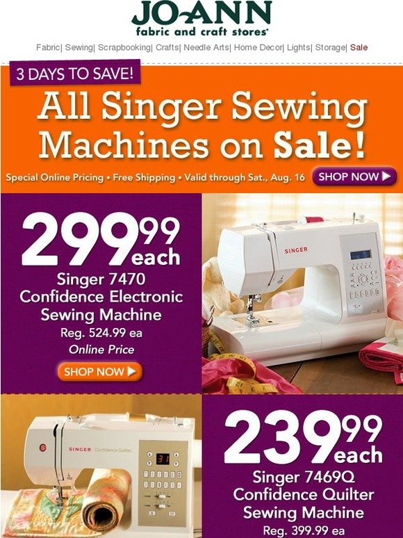 JoAnn Fabric And Craft Store All Singer Sewing Machines On Sale Beauteous Joann Fabrics Singer Sewing Machines