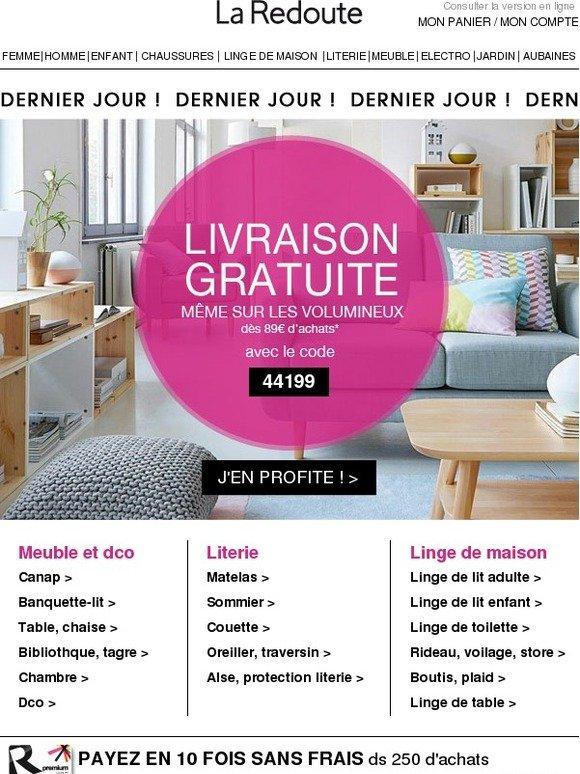 la redoute fr dernier jour livraison gratuite m me de vos meubles milled. Black Bedroom Furniture Sets. Home Design Ideas